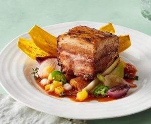 Crispy Pork Belly With Manchamantel Sauce