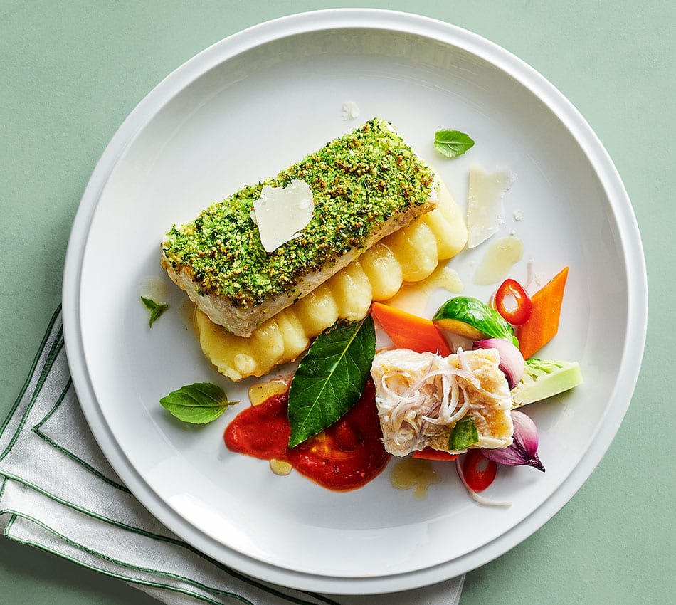 Herb Crusted Cod Fillet And Poached Salt Cod Sysco Foodie