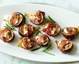 Goat Cheese stuffed figs with prosciutto