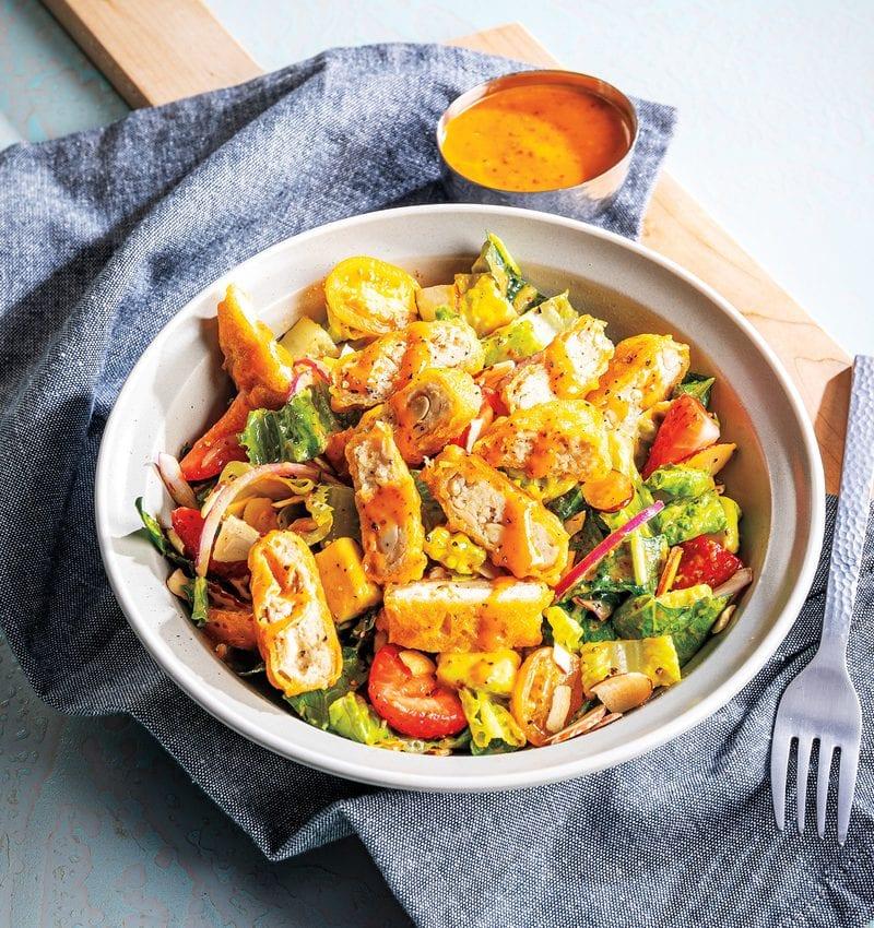 Crispy Plant Based Nugget, Avocado & Kale Salad
