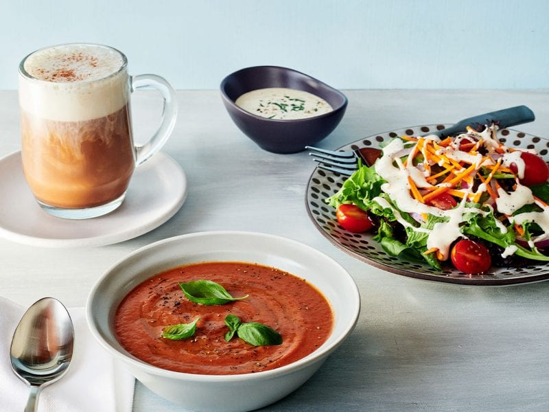 Three recipes that use non-dairy or alternative dairy beverages: an almond chai latte, vegan tomato soup and dairy-free ranch dressing.