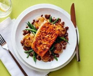Honey-Mustard Salmon With Smashed Potatoes