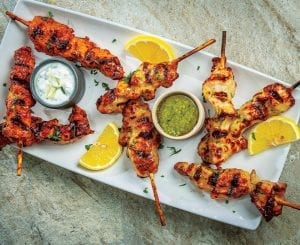 Chicken Skewers With a Variety of Dips