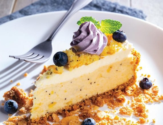 Lemon Poppy Seed Bread Cheesecake With Brown Butter-Almond Streusel