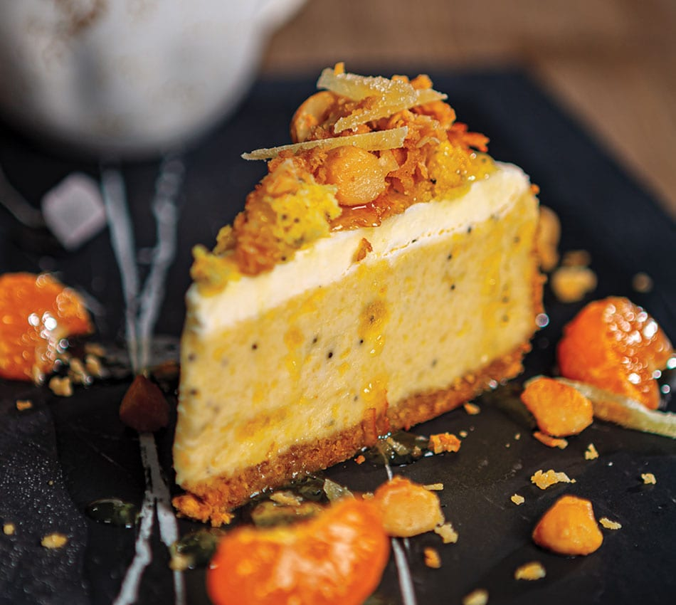 Lemon Poppy Seed Bread Cheesecake With Toasted Coconut-Macadamia Crunch