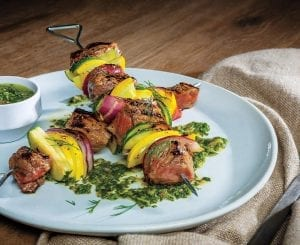 Sirloin Steak and Squash Skewers With Cilantro-Dill Chimichurri