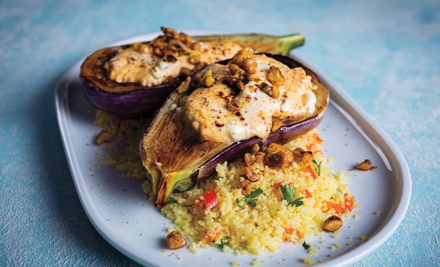 Feta-Stuffed Eggplant Over Red Pepper-Herb Couscous