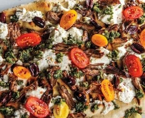 Grilled Lamb and Feta Flatbread With Tomato Zhoug