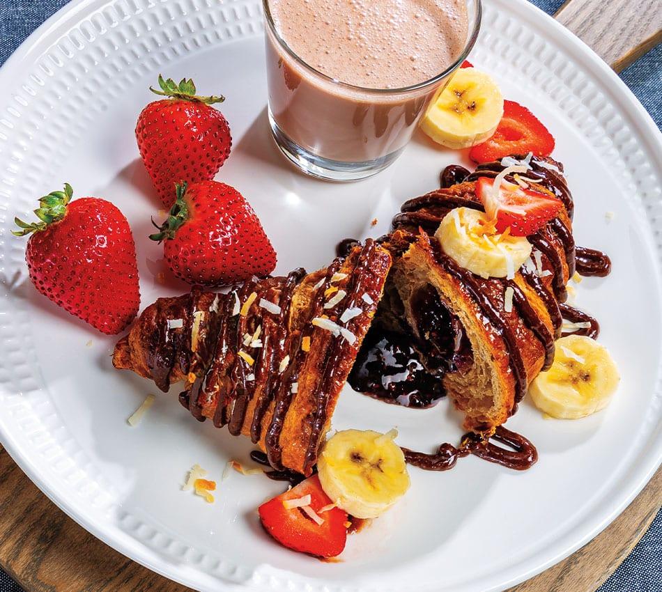 Vegan Chocolate-Hazelnut Drizzled Cornetto With Coconut-Chocolate Milk