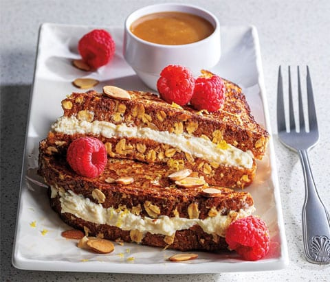 lemon ricotta stuffed french toast with oat, and raspberries