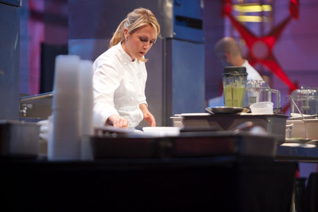 Chef Andi Van Willigan in action during the show: Hell's Kitchen