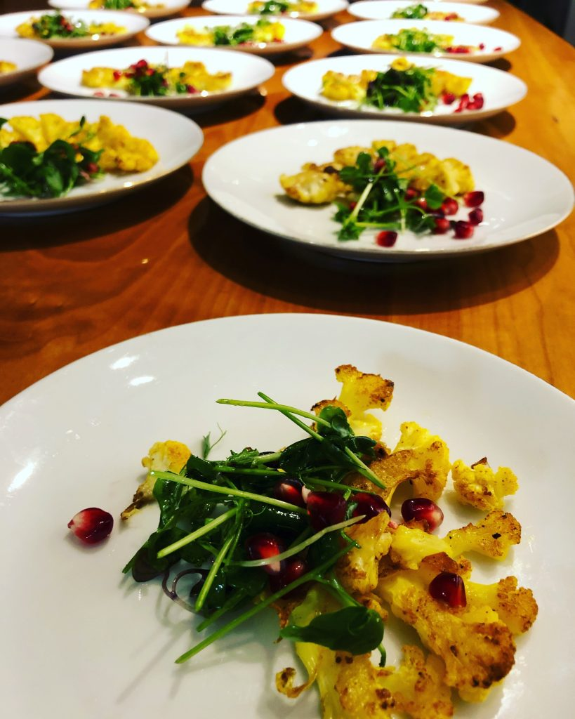 Cauliflower and Spinach salad created by Chef Sharon Steward