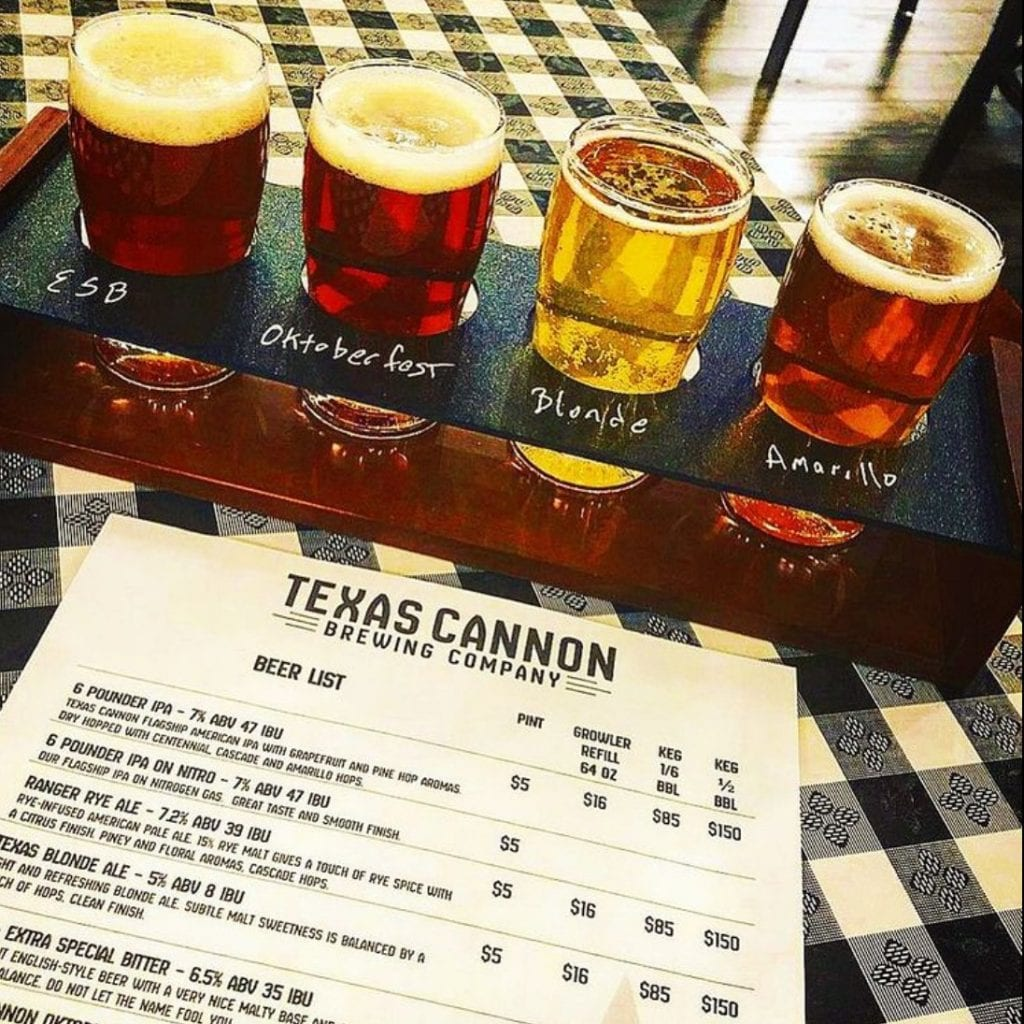 Texas Cannon Brewing Company, Beer Flight