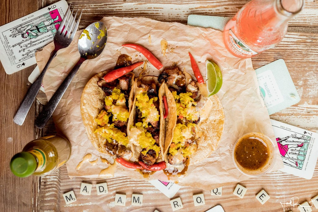 Charred Pineapple Habanero Jerk Chicken Tacos - Never Blue Restaurant