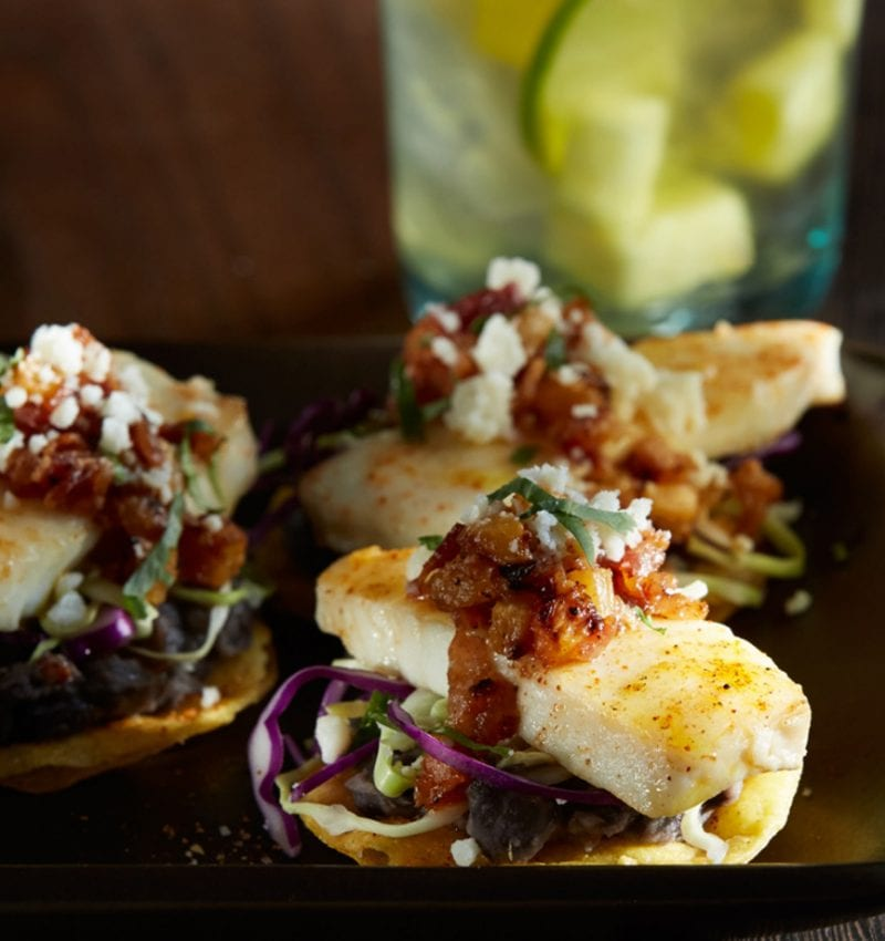 Alaska Halibut Tostada Bites With Pineapple Bacon Jam - Portico Seafood