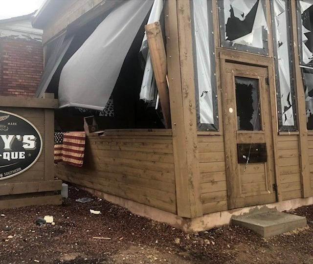 East patio after tornado - Edley's BBQ