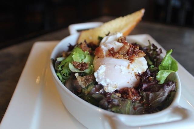 Salad dish with poached egg - Five Senses restaurant
