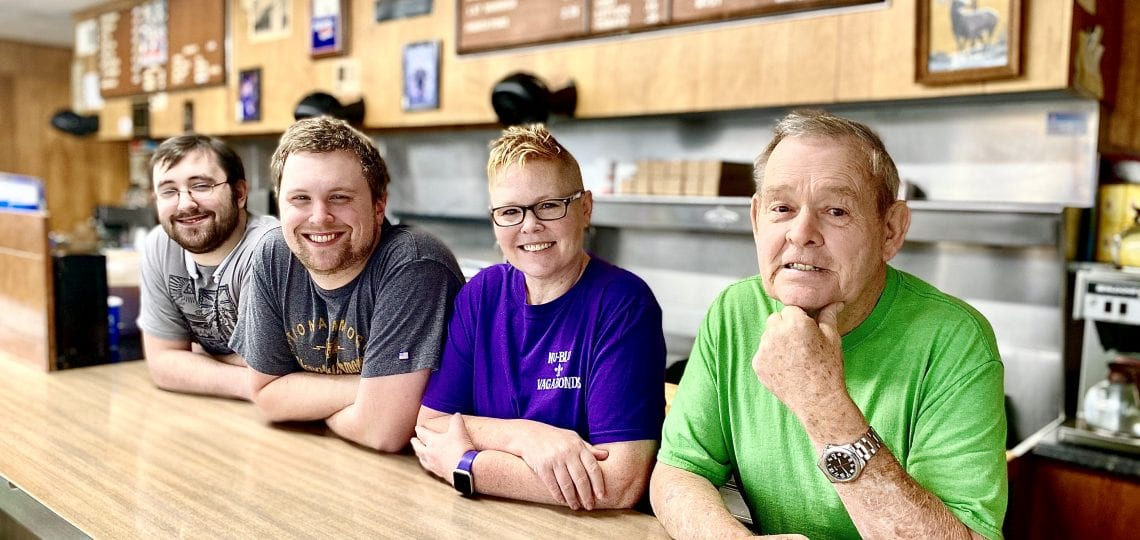 Johnson's Drive-In team and owners: Caemon Stuart, Tristan Stuart, Carolyn Johnson Routh, Claxton Johnson