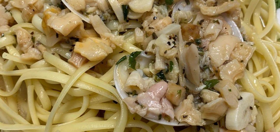 Linguini with white clam sauce from Mezza Luna
