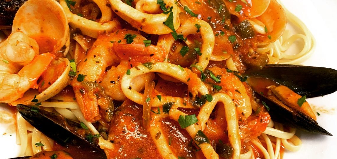 Seafood pasta fra diavolo dish from Mezza Luna Pizzeria